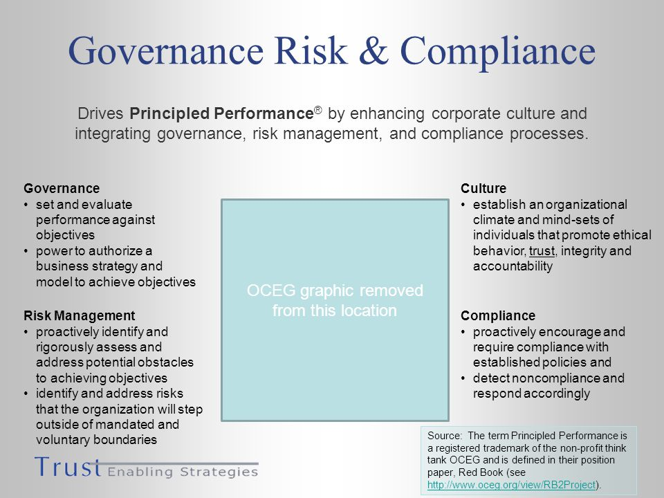 Governance Risk & Compliance Drives Principled Performance ® by enhancing corporate culture and integrating governance, risk management, and complianc