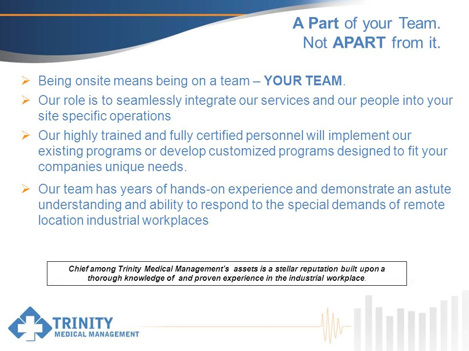 A Part of your Team. Not APART from it. Being onsite means being on a team – YOUR TEAM.