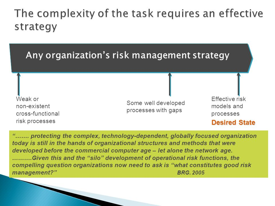 ……. protecting the complex, technology-dependent, globally focused organization today is still in the hands of organizational structures and methods t