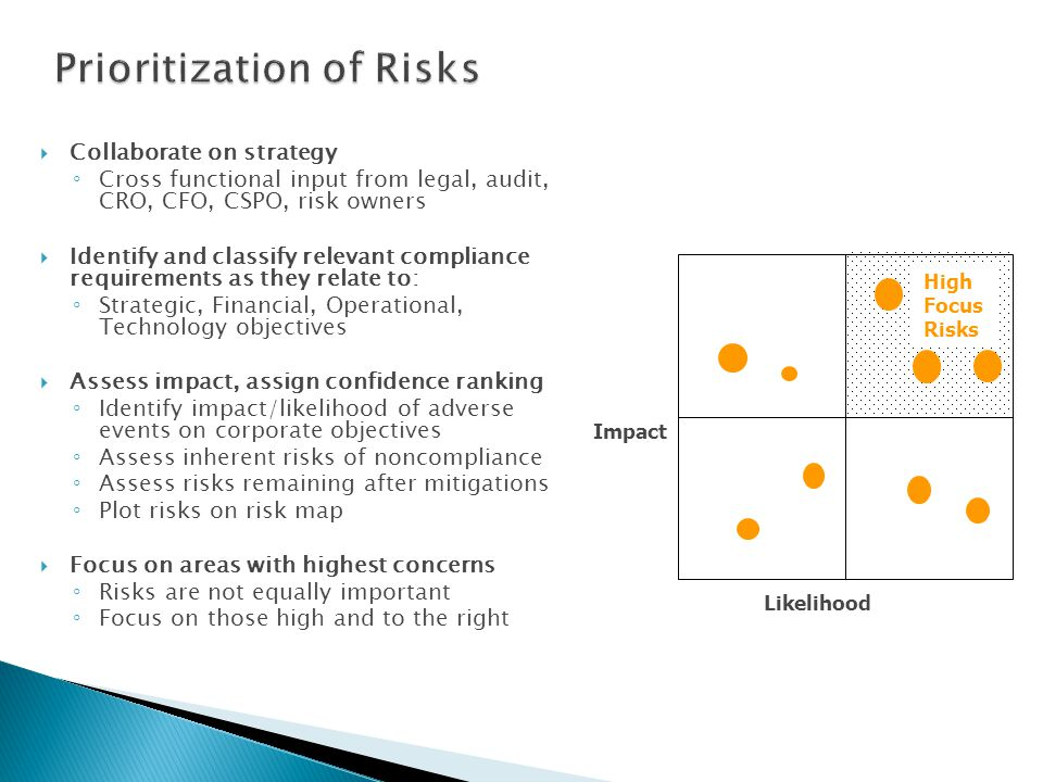 Collaborate on strategy Cross functional input from legal, audit, CRO, CFO, CSPO, risk owners Identify and classify relevant compliance requirements as they relate to: Strategic, Financial, Operational, Technology objectives Assess impact, assign confidence ranking Identify impact/likelihood of adverse events on corporate objectives Assess inherent risks of noncompliance Assess risks remaining after mitigations Plot risks on risk map Focus on areas with highest concerns Risks are not equally important Focus on those high and to the right Impact Likelihood High Focus Risks
