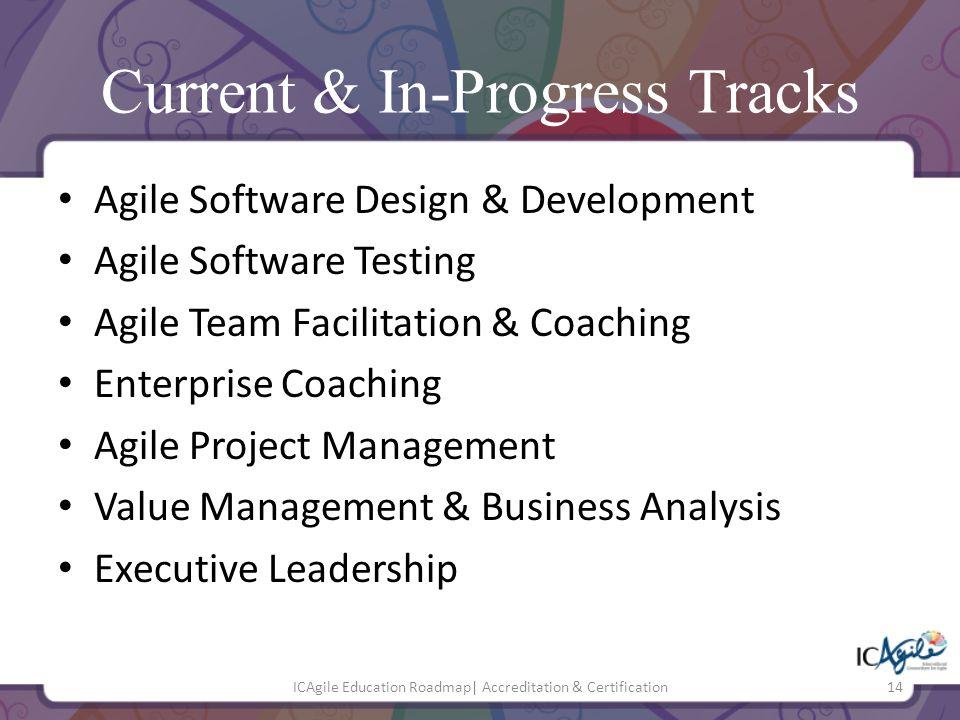 Current & In-Progress Tracks Agile Software Design & Development Agile Software Testing Agile Team Facilitation & Coaching Enterprise Coaching Agile P