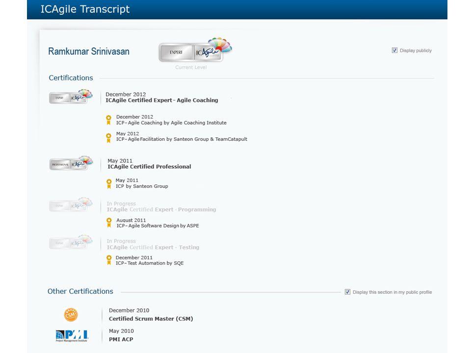 Agile Education Transcript ICAgile Education Roadmap  Accreditation & Certification16