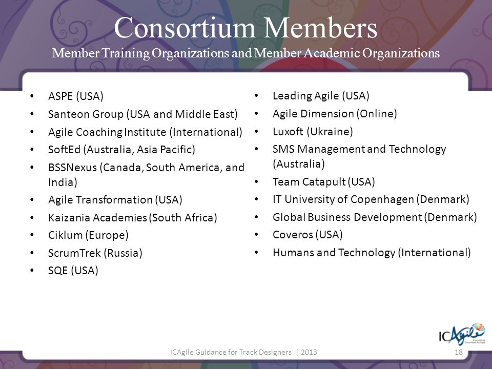 Consortium Members Member Training Organizations and Member Academic Organizations ASPE (USA) Santeon Group (USA and Middle East) Agile Coaching Insti