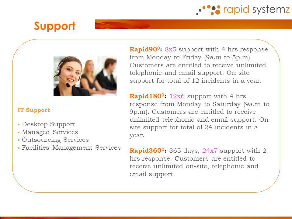 Rapid90 0 : 8x5 support with 4 hrs response from Monday to Friday (9a.m to 5p.m) Customers are entitled to receive unlimited telephonic and email support.