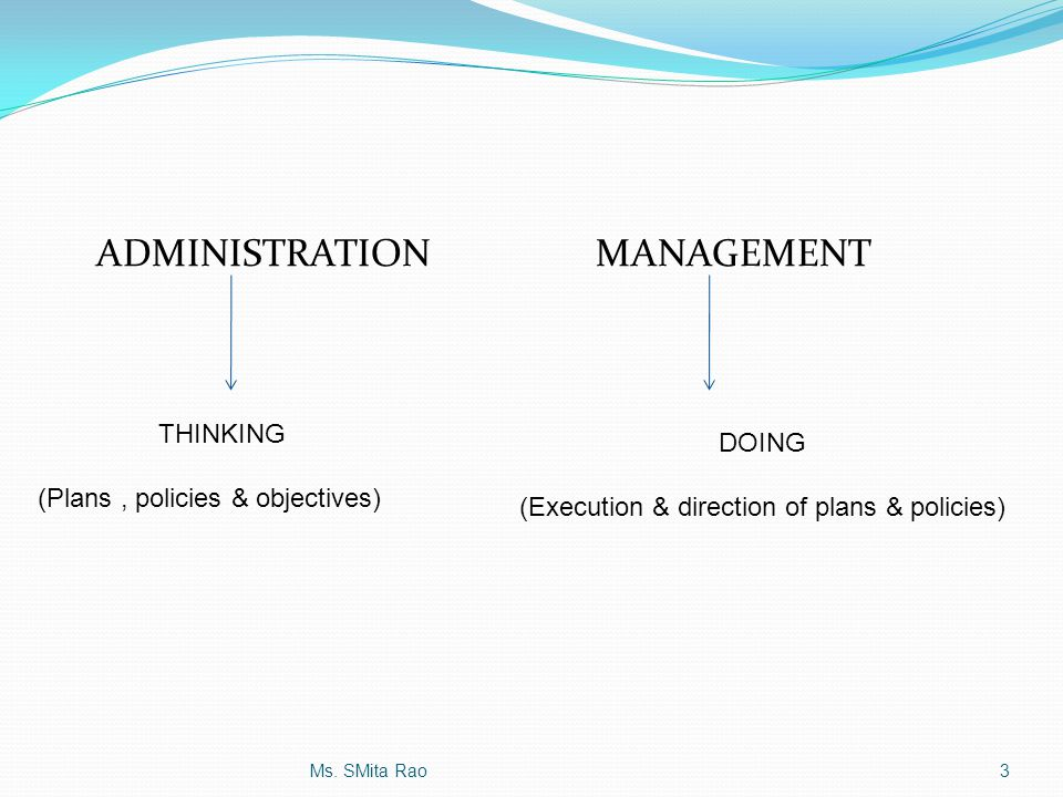 ADMINISTRATIONMANAGEMENT THINKING (Plans, policies & objectives) DOING (Execution & direction of plans & policies) 3Ms. SMita Rao