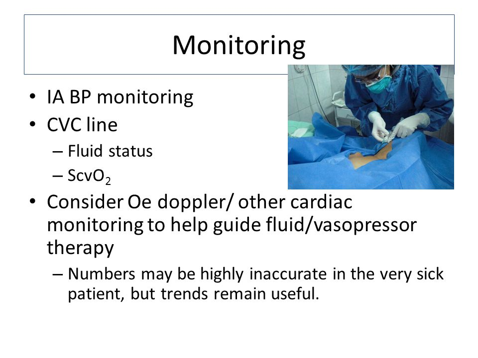 Monitoring IA BP monitoring CVC line – Fluid status – ScvO 2 Consider Oe doppler/ other cardiac monitoring to help guide fluid/vasopressor therapy – Numbers may be highly inaccurate in the very sick patient, but trends remain useful.