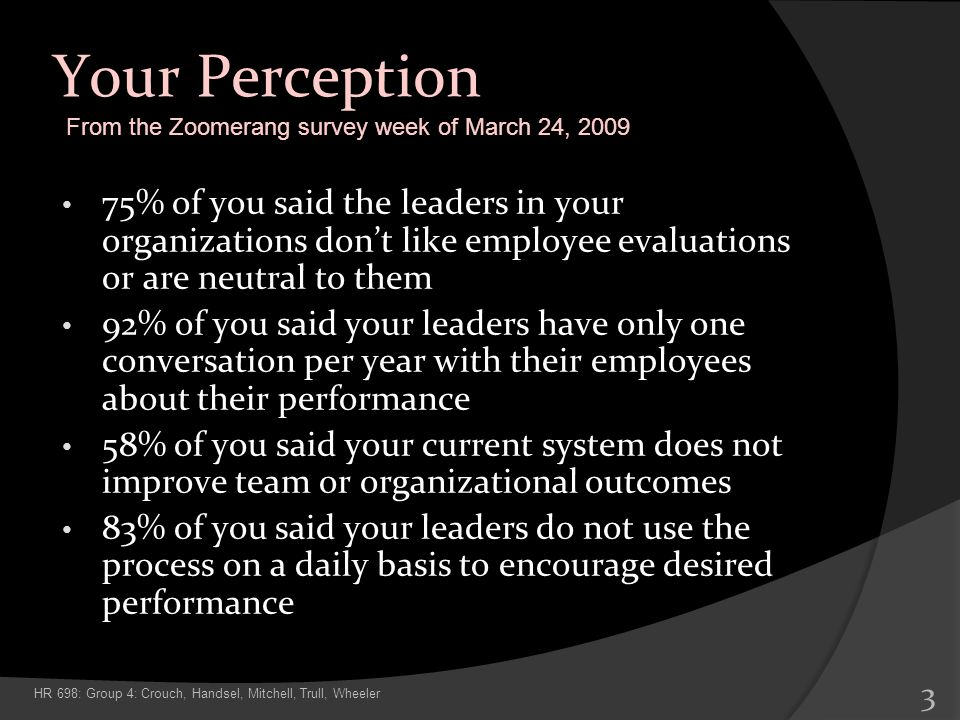 Your Perception 75% of you said the leaders in your organizations dont like employee evaluations or are neutral to them 92% of you said your leaders h
