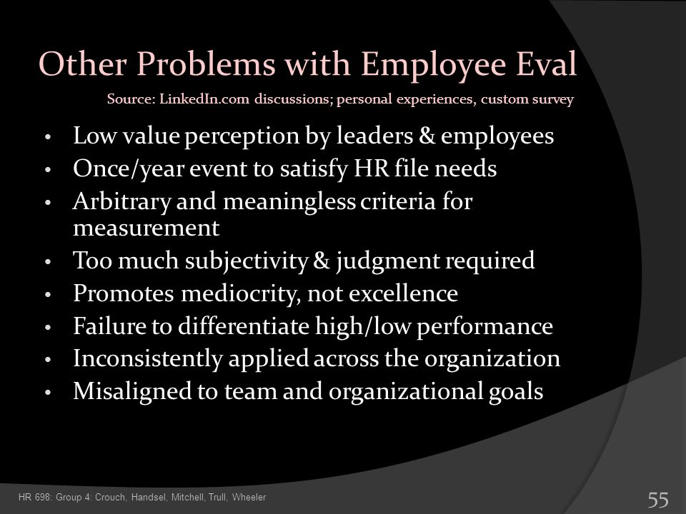 Other Problems with Employee Eval Low value perception by leaders & employees Once/year event to satisfy HR file needs Arbitrary and meaningless crite