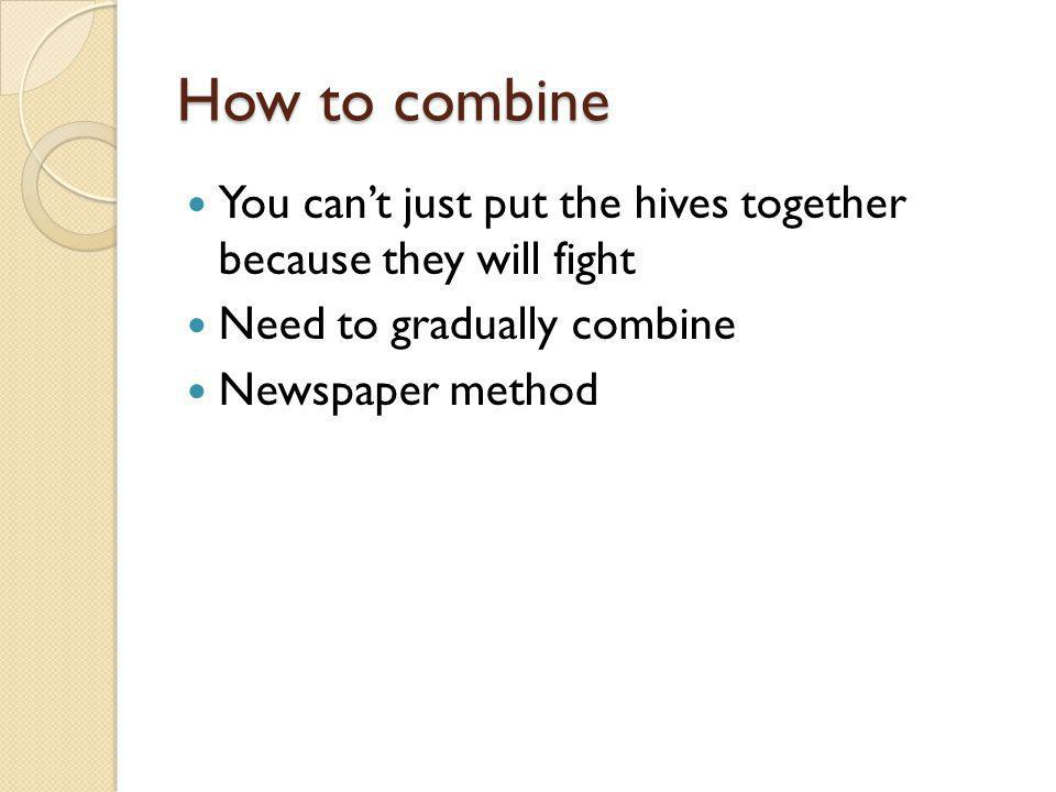 How to combine You cant just put the hives together because they will fight Need to gradually combine Newspaper method