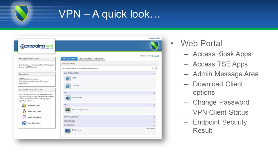 VPN – A quick look… Web Portal –Access Kiosk Apps –Access TSE Apps –Admin Message Area –Download Client options –Change Password –VPN Client Status –Endpoint Security Result