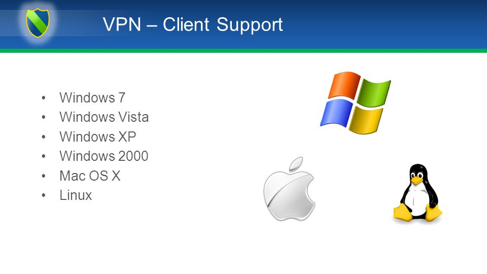 VPN – Client Support Windows 7 Windows Vista Windows XP Windows 2000 Mac OS X Linux