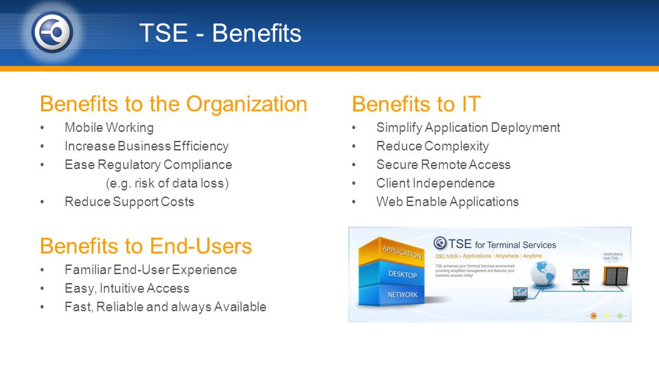 TSE - Benefits Benefits to the Organization Mobile Working Increase Business Efficiency Ease Regulatory Compliance (e.g.