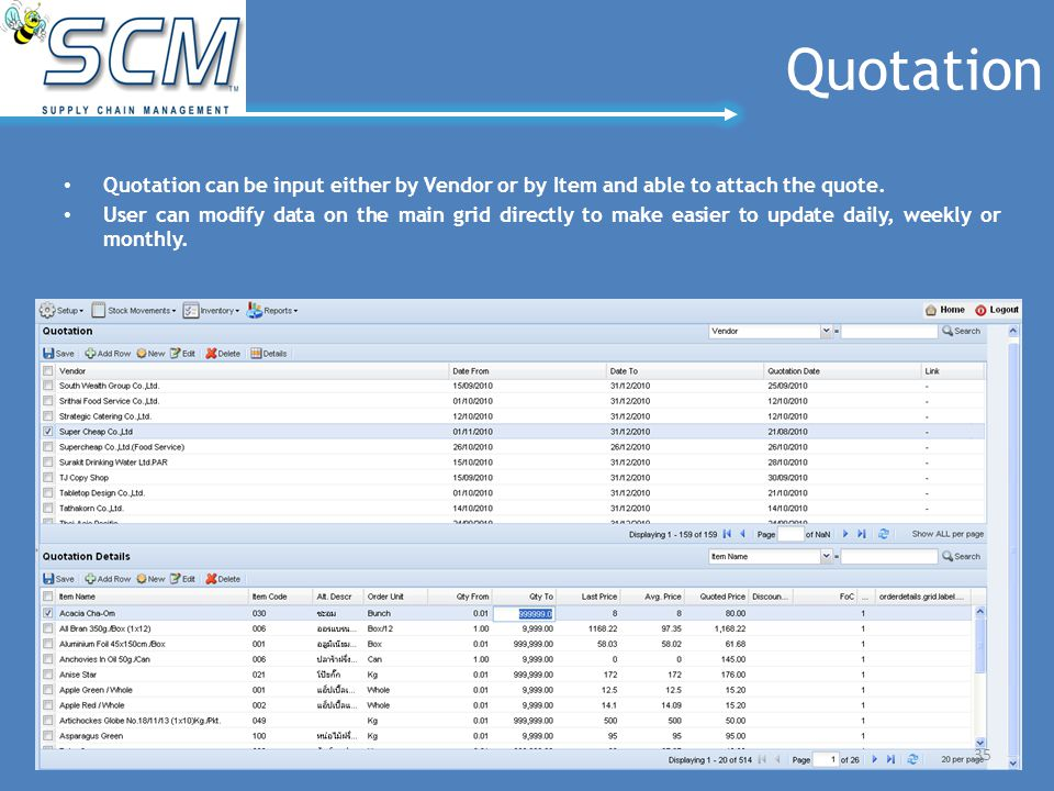 Quotation Quotation can be input either by Vendor or by Item and able to attach the quote. User can modify data on the main grid directly to make easi