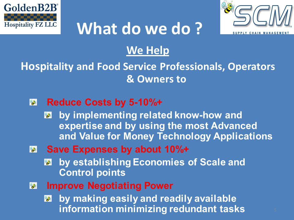 We Help Hosp itality and Food Service Professionals, Operators & Owners to What do we do .