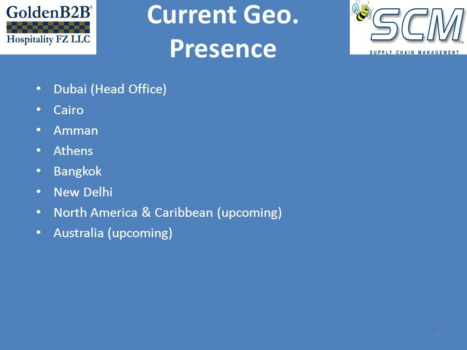 Dubai (Head Office) Cairo Amman Athens Bangkok New Delhi North America & Caribbean (upcoming) Australia (upcoming) 8 Current Geo.