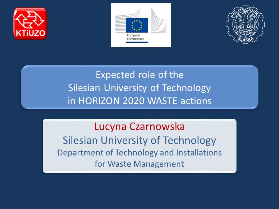 Expected role of the Silesian University of Technology in HORIZON 2020 WASTE actions Lucyna Czarnowska Silesian University of Technology Department of Technology and Installations for Waste Management
