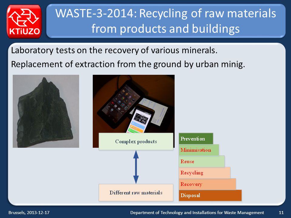 WASTE-3-2014: Recycling of raw materials from products and buildings Laboratory tests on the recovery of various minerals.