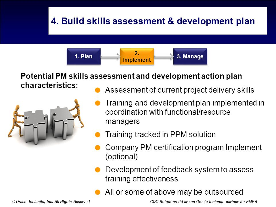 © Oracle Instantis, Inc. All Rights ReservedCQC Solutions ltd are an Oracle Instantis partner for EMEA 4. Build skills assessment & development plan A