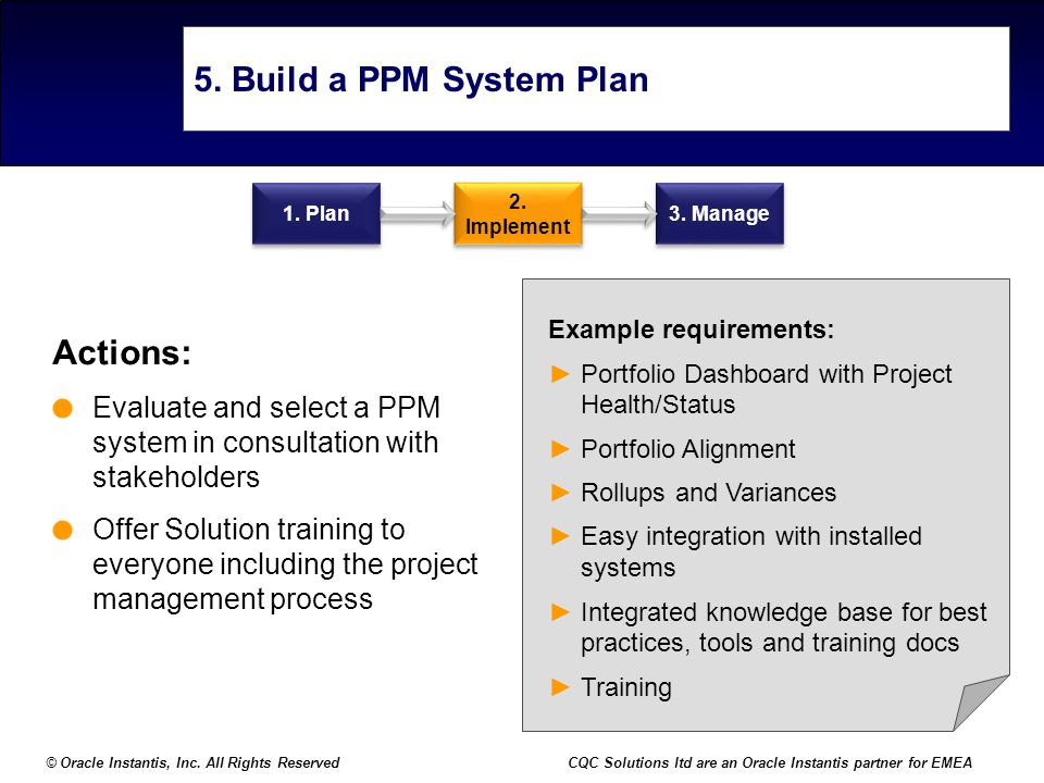© Oracle Instantis, Inc. All Rights ReservedCQC Solutions ltd are an Oracle Instantis partner for EMEA 5. Build a PPM System Plan Actions: Evaluate an