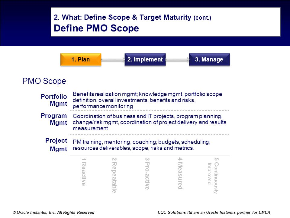 © Oracle Instantis, Inc. All Rights ReservedCQC Solutions ltd are an Oracle Instantis partner for EMEA 2. What: Define Scope & Target Maturity (cont.)
