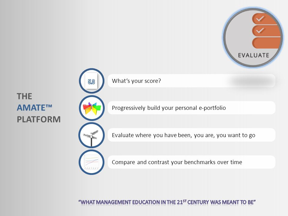 THE AMATE PLATFORM Whats your score? Progressively build your personal e-portfolio Evaluate where you have been, you are, you want to go Compare and c
