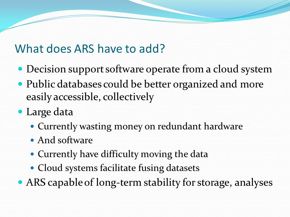 What does ARS have to add.