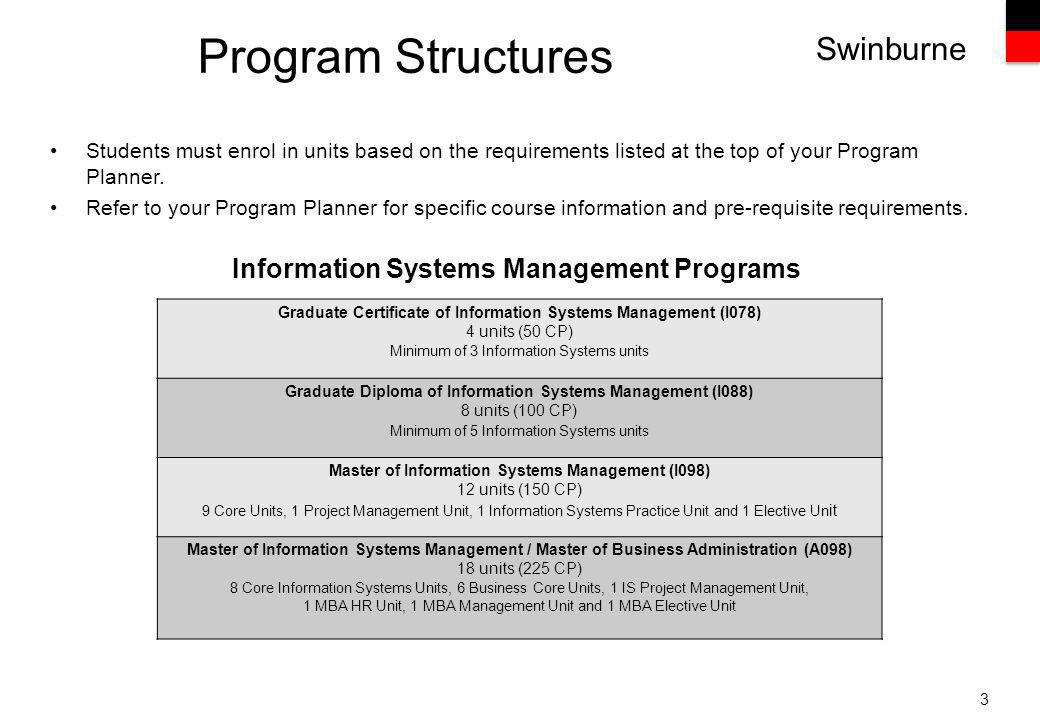 Swinburne Program Structures 3 Students must enrol in units based on the requirements listed at the top of your Program Planner.