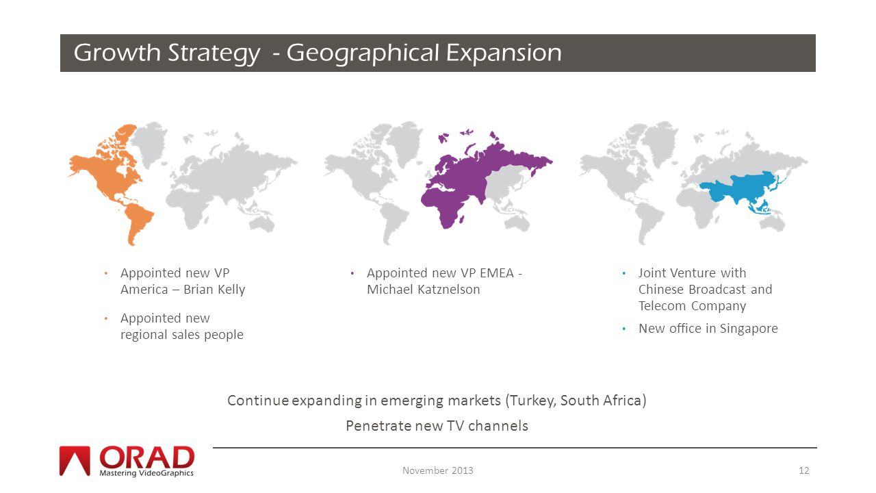 Click to edit Master title style Growth Strategy - Geographical Expansion Continue expanding in emerging markets (Turkey, South Africa) Penetrate new TV channels November Appointed new VP America – Brian Kelly Appointed new regional sales people Appointed new VP EMEA - Michael Katznelson Joint Venture with Chinese Broadcast and Telecom Company New office in Singapore