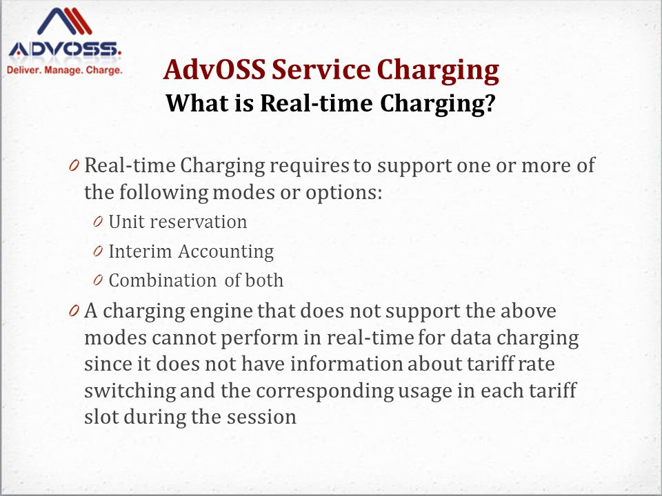 AdvOSS Service Charging What is Real-time Charging.