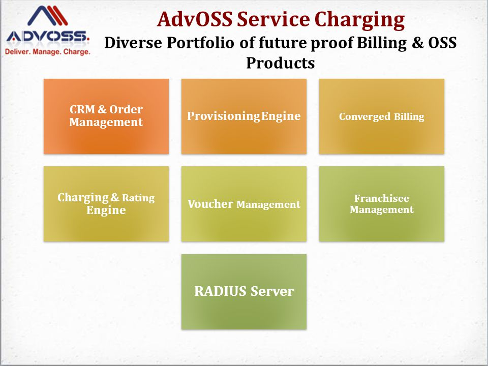 AdvOSS Service Charging Voucher Management System 0 AdvOSS Voucher Management System enables a Service Provider to use pins as payment vouchers.