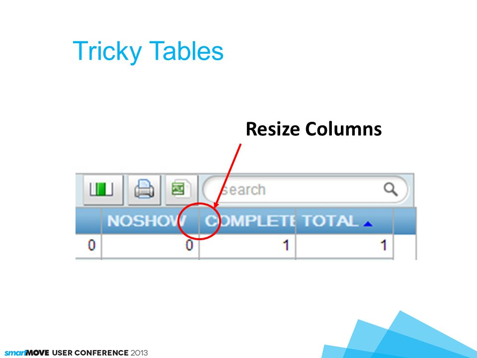 Tricky Tables Resize Columns