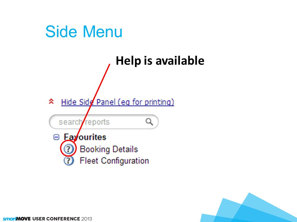 Side Menu Help is available