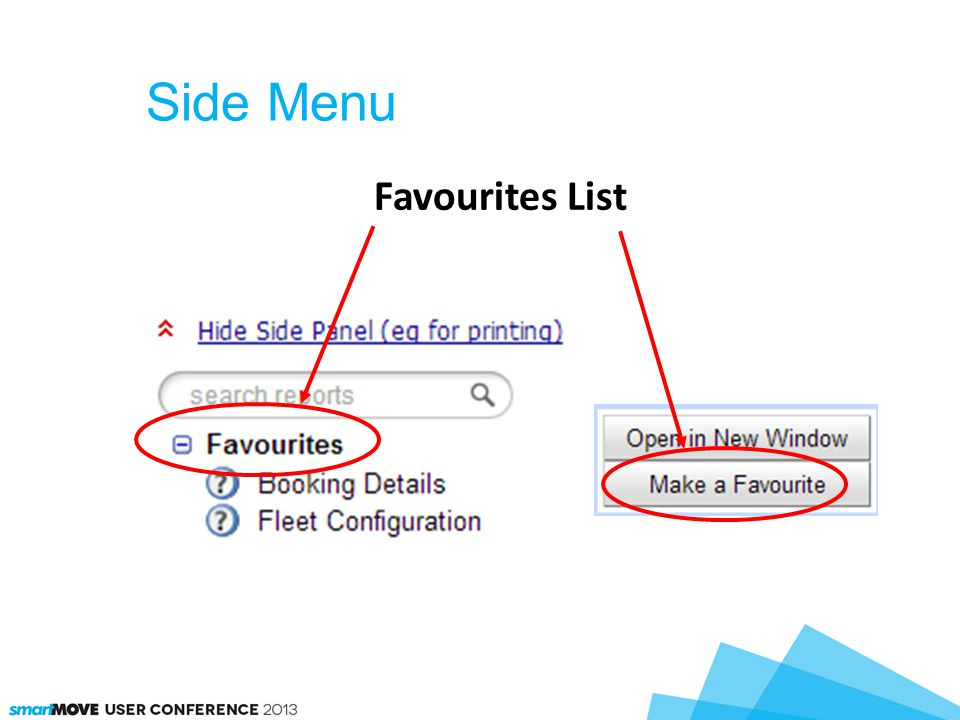 Side Menu Favourites List