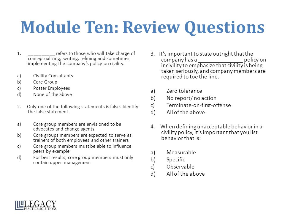 Module Ten: Review Questions 1. __________ refers to those who will take charge of conceptualizing, writing, refining and sometimes implementing the c