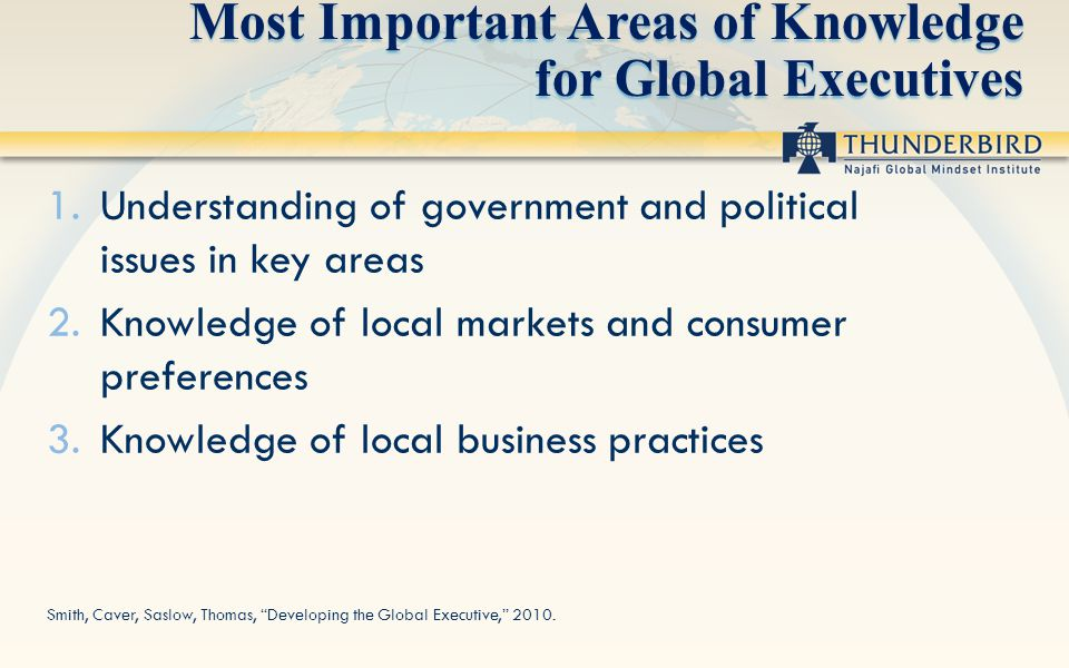Most Important Areas of Knowledge for Global Executives 1.Understanding of government and political issues in key areas 2.Knowledge of local markets a