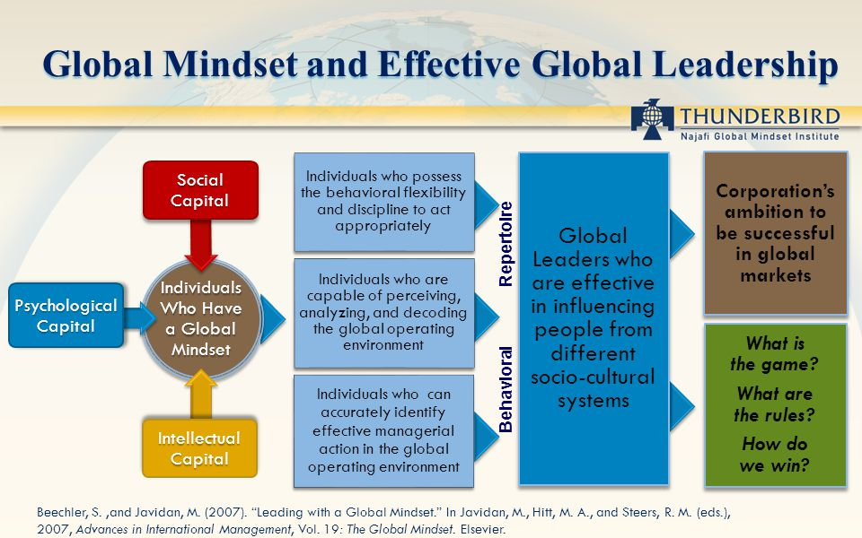 Individuals who possess the behavioral flexibility and discipline to act appropriately Individuals who are capable of perceiving, analyzing, and decoding the global operating environment Individuals who can accurately identify effective managerial action in the global operating environment Global Leaders who are effective in influencing people from different socio-cultural systems Corporations ambition to be successful in global markets What is the game.