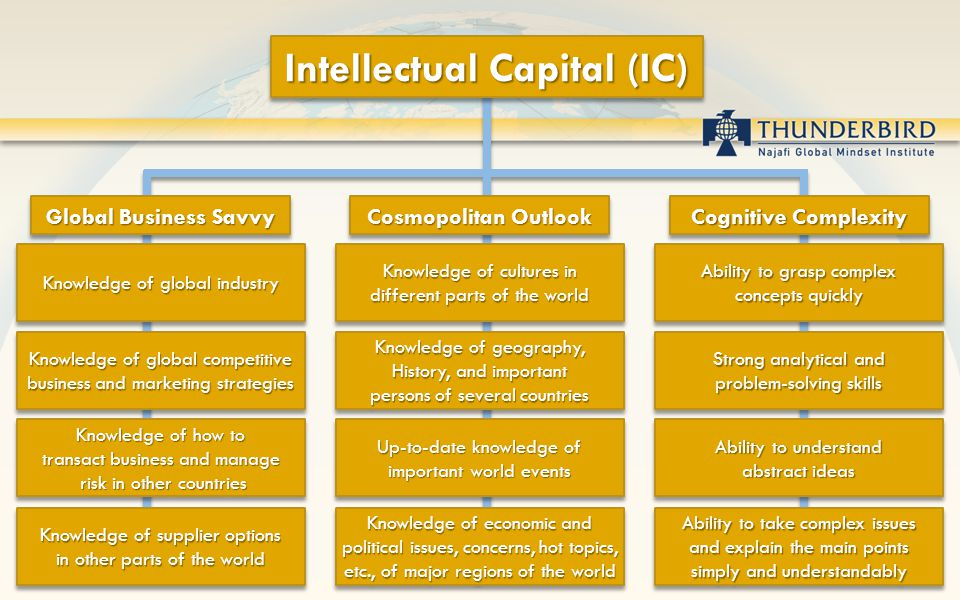 Intellectual Capital (IC) Global Business Savvy Knowledge of global industry Knowledge of global competitive business and marketing strategies Knowled