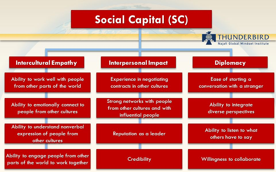 Social Capital (SC) Intercultural Empathy Ability to work well with people from other parts of the world Ability to work well with people from other parts of the world Ability to emotionally connect to people from other cultures Ability to understand nonverbal expression of people from other cultures Ability to engage people from other parts of the world to work together Interpersonal Impact Experience in negotiating contracts in other cultures Experience in negotiating contracts in other cultures Strong networks with people from other cultures and with influential people Reputation as a leader CredibilityCredibility DiplomacyDiplomacy Ease of starting a conversation with a stranger Ease of starting a conversation with a stranger Ability to integrate diverse perspectives Ability to listen to what others have to say Ability to listen to what others have to say Willingness to collaborate