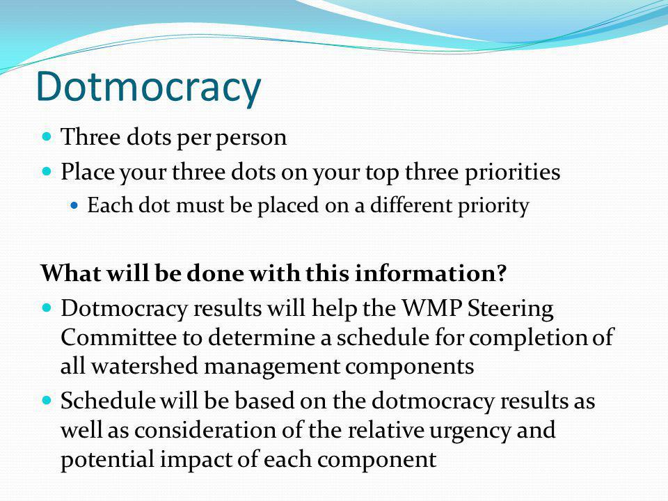 Dotmocracy Three dots per person Place your three dots on your top three priorities Each dot must be placed on a different priority What will be done with this information.