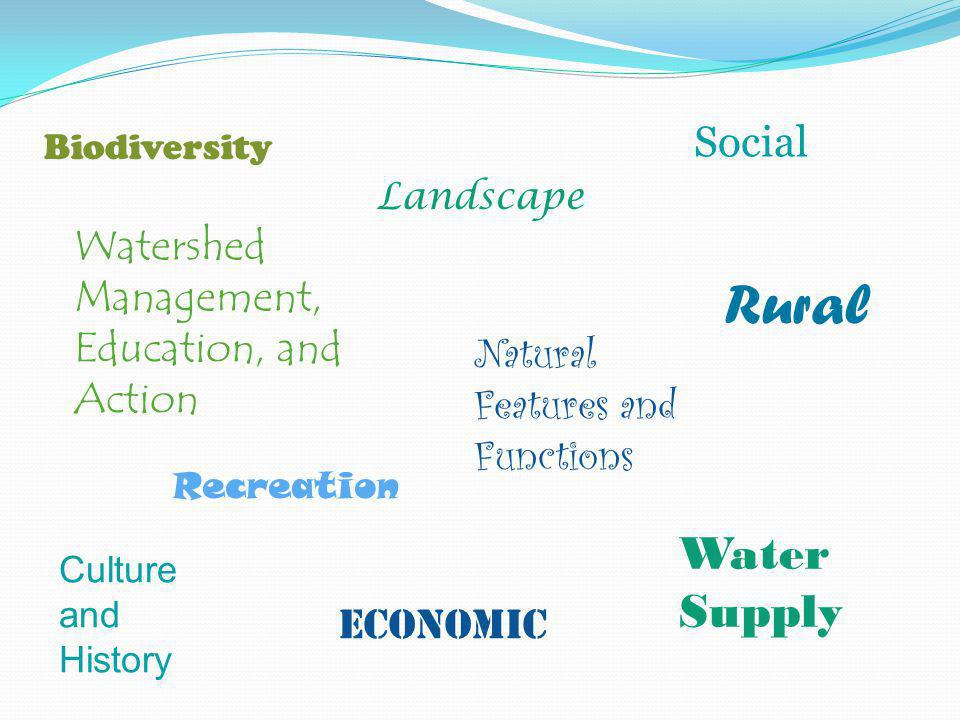 Biodiversity Natural Features and Functions Recreation Landscape Rural Water Supply Culture and History Social Economic Watershed Management, Education, and Action