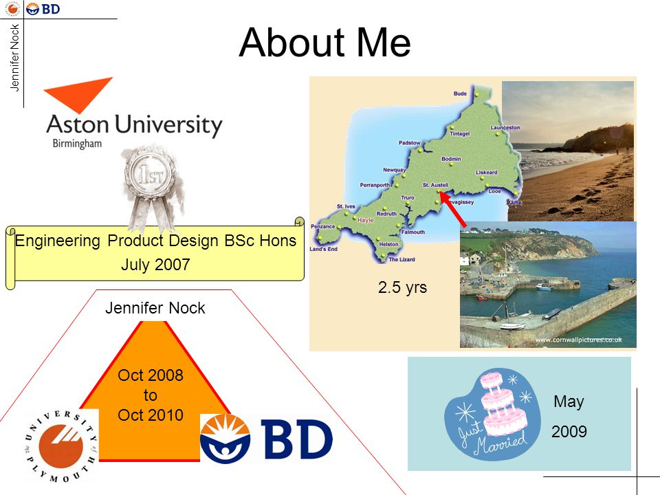 Jennifer Nock About Me Engineering Product Design BSc Hons July 2007 May 2009 2.5 yrs Jennifer Nock Oct 2008 to Oct 2010
