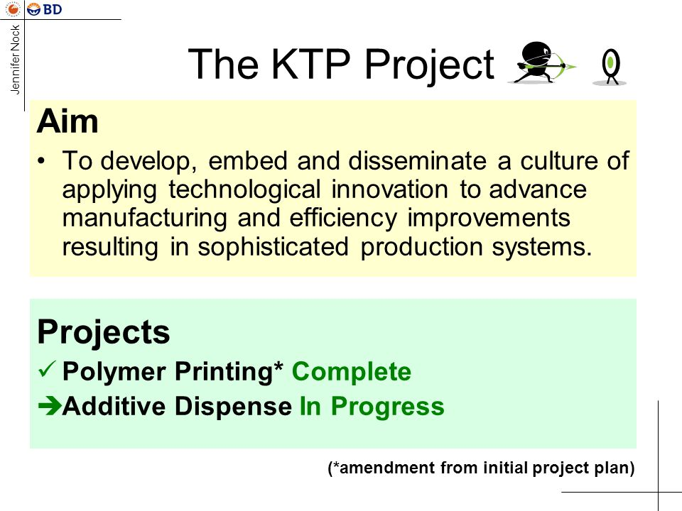 Jennifer Nock The KTP Project Aim To develop, embed and disseminate a culture of applying technological innovation to advance manufacturing and efficiency improvements resulting in sophisticated production systems.