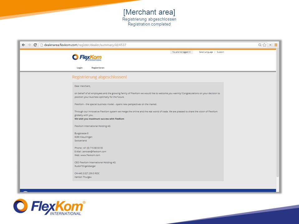 [Merchant area] Registrierung abgeschlossen Registration completed