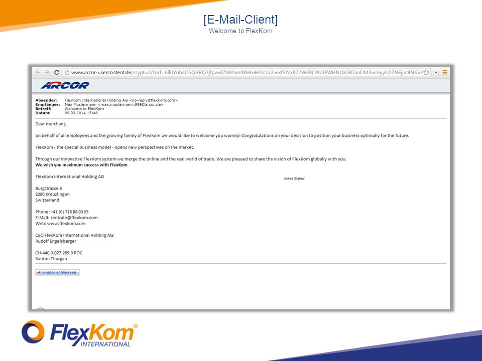 [E-Mail-Client] Welcome to FlexKom