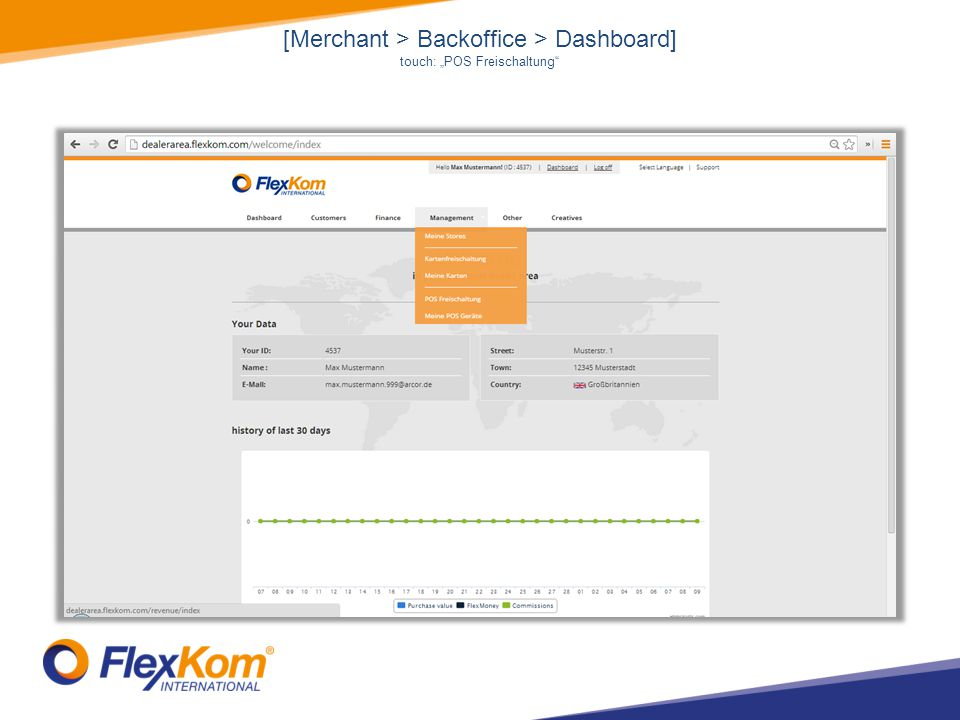 [Merchant > Backoffice > Dashboard] touch: POS Freischaltung