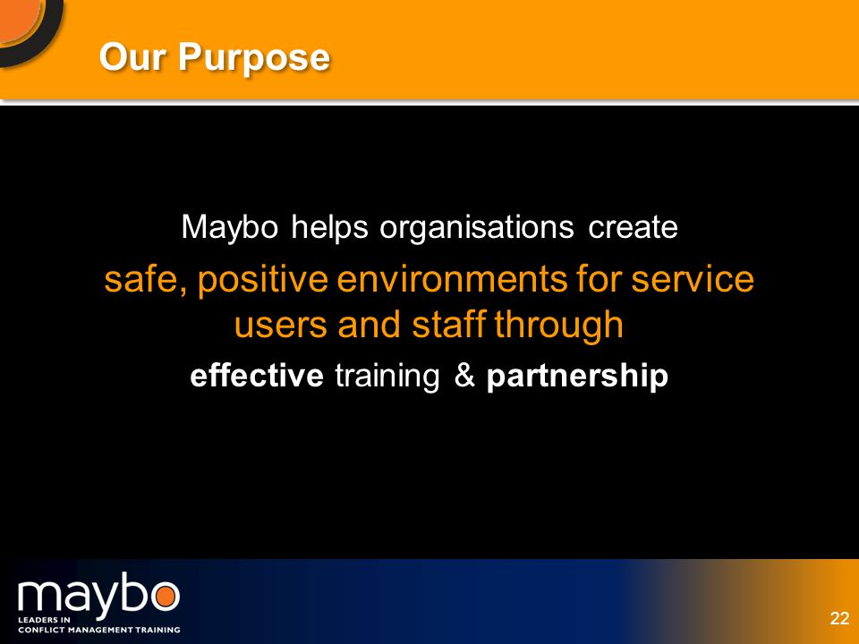 © Maybo Ltd 2006 22 Our Purpose Maybo helps organisations create safe, positive environments for service users and staff through effective training & partnership