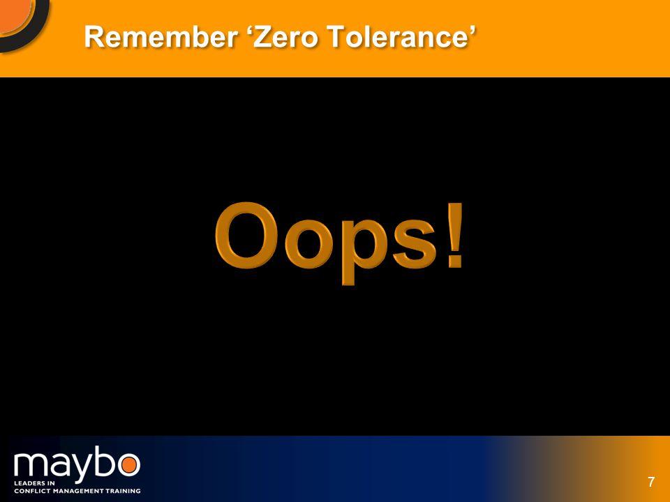 © Maybo Ltd 2006 7 Remember Zero Tolerance