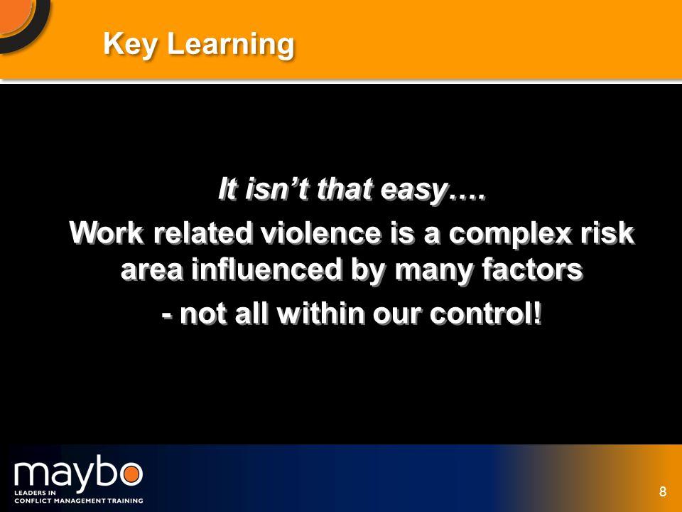 © Maybo Ltd 2006 8 Key Learning It isnt that easy….