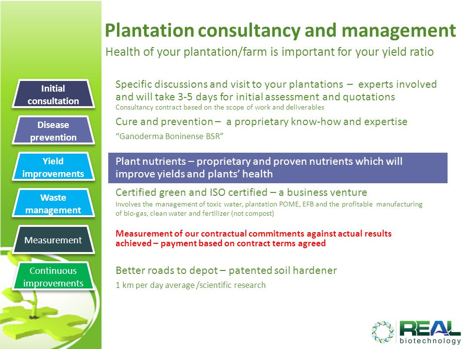 Plantation consultancy and management Health of your plantation/farm is important for your yield ratio Specific discussions and visit to your plantations – experts involved and will take 3-5 days for initial assessment and quotations Consultancy contract based on the scope of work and deliverables Cure and prevention – a proprietary know-how and expertise Ganoderma Boninense BSR Certified green and ISO certified – a business venture Involves the management of toxic water, plantation POME, EFB and the profitable manufacturing of bio-gas, clean water and fertilizer (not compost) Measurement of our contractual commitments against actual results achieved – payment based on contract terms agreed Better roads to depot – patented soil hardener 1 km per day average /scientific research Initial consultation Plant nutrients – proprietary and proven nutrients which will improve yields and plants health Disease prevention Yield improvements Waste management Waste management Measurement Continuous improvements Continuous improvements
