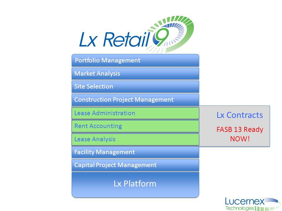 Portfolio Management Market Analysis Site Selection Construction Project Management Capital Project Management Facility Management Lx Platform Lease A
